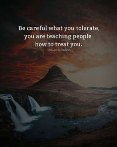 Be careful what you tolerate you are teaching people how to treat you. . . . #quotes #tolerate #treating