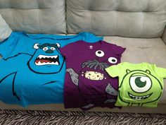 My DIY Sully & Boo shirts to match Joven's Mike Wasowski shirt for his 2nd birthday at Disney World next week! :D