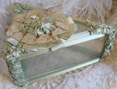 Circa 1920s Exquisite Glass Hanky Box Trimmed With Mint Green Ribbon Work and Lace