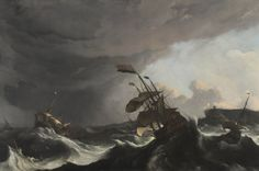 Ludolf Bakhuizen, Warships in a heavy storm c1695, oil on canvas, 150 x 227 cm. Rijksmuseum, purchased with the support of the Vereniging Rembrandt