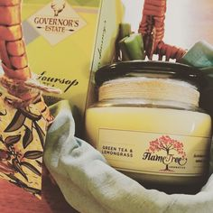 Green tea and lemongrass hamper with a Green Tea and Lemongrass candle, Green Tea and home grown lemongrass. www.facebook.com/GiftClubApp