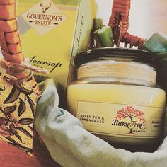 Green tea and lemongrass hamper with a Green Tea and Lemongrass candle, Green Tea and home grown lemongrass. www.facebook.com/GiftClubApp