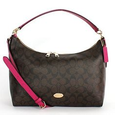 Women's Shoulder Bags - COACH Celeste Signature EW Hobo  BrownCranberry -- You can get more details by clicking on the image.