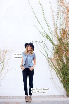 If I haven't already pinned this outfit, shame on me! Black skinnies, grey tee, denim vest, edgy wide-brim and fringed ankle booties. Autumn perfection.Sarah Yates