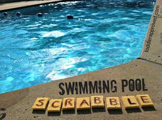 Write letters on sponges w/sharpie; throw them in the pool; kids swim to collect all of the pieces/form words.think we could find a pool and play the speed scrabble version of this sometime soon? Pool Games, Water Games, Water Activities, Summer Activities, Summer Games, Water Play, Toddler Activities, Kids Swimming, Swimming Pools