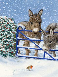 Donkeys and Robin 2-Sided Garden Flag