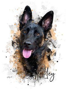 Portraits Pop Art, Custom Dog Portraits, Watercolor Portraits, Watercolor Cat, Watercolor Animals, Wallpaper Kawaii, Pastor Belga Malinois, Dog Portrait Tattoo, Dog Dad Gifts
