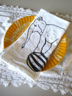 Susan these made me think of you and the girls for some reason.  Screen Printed Organic Cotton Cloth Napkins  Eco by ohlittlerabbit, $20.00