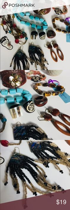 Boho Accessories Lot A wonderful collection of boho accessories. Natural stones and abalone shell beauties, necklaces, bracelets, rings and earrings!  All in EUC, some with tags on. Jewelry