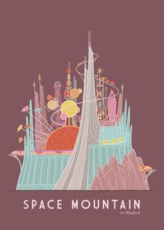 Space Mountain ~ Disneyland Art by Mario Graciotti Disney Dream, Disney Love, Disney Magic, Vintage Disney Posters, Vintage Disneyland, Disney Parks, Walt Disney World, Disney Rides, Disney Aesthetic