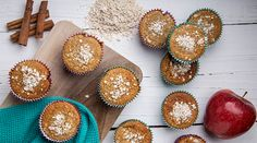Muffins βρώμης με μήλο και κανέλα | alevri.com How To Stay Healthy, Muffins, Cakes, Breakfast, Desserts, Recipes, Food, Morning Coffee, Tailgate Desserts