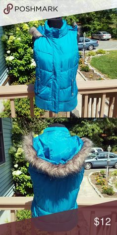 NWOT Beautifully Made Sky Blue Vest Never worn. In perfect condition. Very warm and the fabric is beautiful! High quality in every aspect of this vest! Got it for Christmas last year but was too small on me! Perfect for Fall and Winter! Size 4. Jackets & Coats Vests
