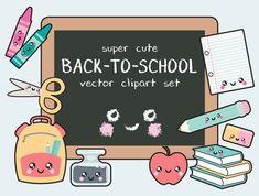 Premie Vector Clipart - Kawaii terug naar School Clipart - Kawaii-illustraties - schoolbenodigdheden clipart - hoge kwaliteit vectoren - Kawaii Clipart