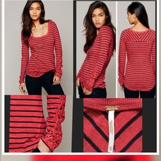 Free People Red Hard Candy Embroidered Cuff Sleeve Free People Red Hard Candy Striped Top Long Sleeve Embroidered Cuff with crochet and Brad detailing on each cuff... Size-XS Note Picture 3 shows tiny hole on back near collar✅ Free People Tops Tees - Long Sleeve