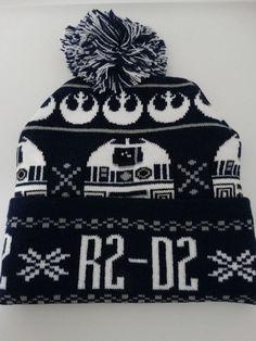 Star Wars R2D2 Pom Cuff Navy Blue Knit Hat Nwt #StarWars #Beanie