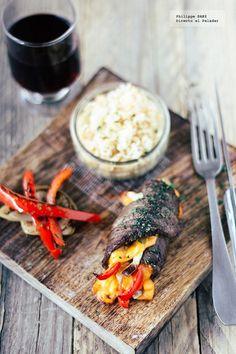 Rollos de carne de res con verduras y Chedar. Receta