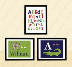 Alligator / Crocodile Madras & Nautical Theme Wall Art | Set of 3 Custom Alphabet Prints in any size | Baby Kid Nursery Room Decoration PB