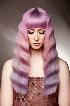 ℒᎧᏤᏋ her gorgeous soft crimped long purple to pink ombré hair!!!! ღ❤ღ