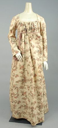 Printed cotton gown. Great example of reusing a block print after it's somewhat out of fashion.