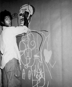 Jean-Michel Basquiat photographed by Andy Warhol, 1984