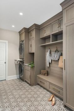 Crushing On: Mudrooms. Crushing On: Mudrooms - Stacy Risenmay. Every time I come across a gorgeous, organized mudroom, I am filled with envy! Today I am sharing some of my favorite mudrooms that I am crushing on. Mudroom Laundry Room, Laundry Room Remodel, Laundry Room Cabinets, Laundry Room Design, Kitchen Remodel, Storage For Laundry Room, Laundry Room Floors, Wood Cabinets, Laundry Area