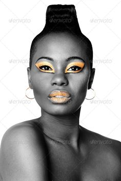Realistic Graphic DOWNLOAD (.ai, .psd) :: http://jquery.re/pinterest-itmid-1006725307i.html ... Black and gold beauty face ...  african, attractive, beautiful, beauty, black, bodycare, cosmetics, eyeshadow, face, facial, fashion, female, gold, head, lipstick, makeup, model, mohawk, portrait, shoulder, tribal, woman  ... Realistic Photo Graphic Print Obejct Business Web Elements Illustration Design Templates ... DOWNLOAD :: http://jquery.re/pinterest-itmid-1006725307i.html