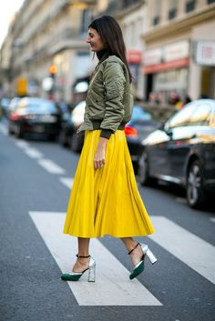 Pair a bold maxi skirt with an army green bomber jacket and sequin block heels. // #ootd #streetstyle #lotd