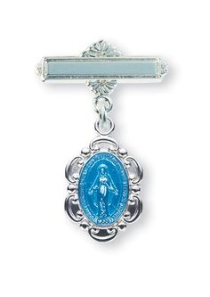 Fancy Edge Boys Blue St. Mary Miraculous Medal Sterling Silver Baby Medals, Baby Pin, Great for Christening, Baptism or First Communion (Attach to Tie) HMH001 http://www.amazon.com/dp/B00T584F5E/ref=cm_sw_r_pi_dp_eXMnvb0S1FD5B