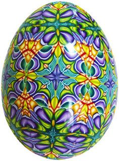 green-purple-yellow egg, design by Carol Simmons
