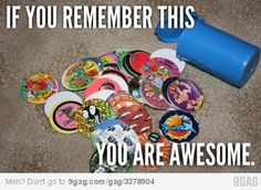 "Pogs!!! Still have two slammers, CR calls them her ""awesome money"" lol"