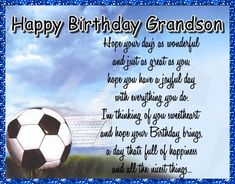 A sporty card for your grandson. Free online Special Grandson Birthday ecards on Birthday Grandson Birthday Wishes, Late Birthday Wishes, Birthday Hug, Happy Birthday My Love, Birthday Songs, Birthday Messages, Im Thinking About You, Love You A Lot, Wishes For You