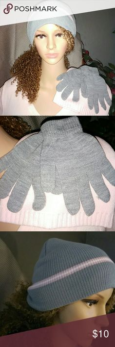 New Winter Hat & Gloves Set /4pcs NWOT One pair of grey gloves and two winter hats. Grey and pink. Outdoor Cap Accessories Hats