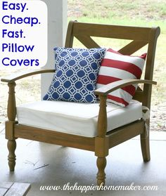 The Happier Homemaker: Easy. Cheap. Fast. DIY Pillow Covers.