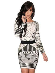 Sexy Backless Tribal Print Long Sleeve Vintage Dress