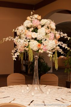 Tall white, pink and peach centerpiece - Houston wedding photography - MD Turner Photography