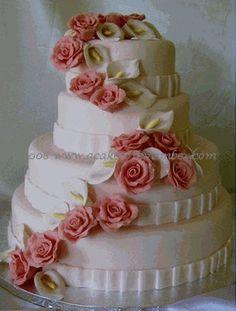 Gumpaste flower cascade for wedding cake, DIY wedding cake decorations by A Cake to Remember
