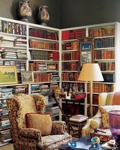english cottage style interior with bookcases