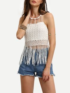 To find out about the Tassel Trimmed Halter Lace-up Crochet Top at SHEIN, part of our latest Tank Tops & Camis ready to shop online today! Crochet Halter Tops, Crochet Crop Top, Crochet Bikini, Boho Outfits, Fashion Outfits, Macrame Dress, Crochet Cover Up, Crochet Poncho Patterns, Crochet Woman