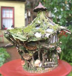 fairy house, I like the topnotch on the roof as well as the mini porch.