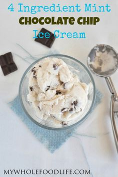 Just 4 simple ingredients to make this dreamy and creamy Mint Chocolate Chip Ice Cream. Vegan, gluten free and paleo approved as well. Easy peasy!