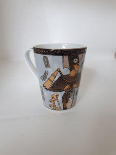 Fathi Mahmoud Porcelain Egyptian Coffee Mug Gold Accents, Iridescent, Egyptian, I Shop, Coffee Mugs, Porcelain, Sculpture, Tableware, Blue