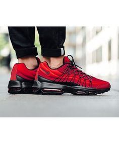 Air Max 95 Red Off. the Cheapest Air Max 95 Ultra SE, Ultra Essential, Utra Jacquard and Other Colorways. Nike Air Max Trainers, Red Trainers, Air Max Sneakers, Sneakers Nike, Air Max 95 Red, Air Max 97, Nike Air Max For Women, Nike Women, Cheap Air Max 95