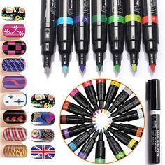 6pcs/lot 16 Color Nail Art Pens Stamp Polish Painting Nails Art DIY Decoration Manicure 3D Nails Tools Paint Pen
