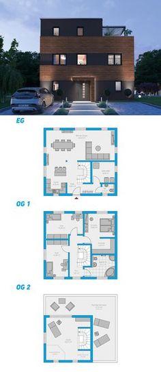 Alea 217 – schlüsselfertiges Massivhaus – Rebel Without Applause Sims House Plans, House Floor Plans, Model House Plan, Sims 4 Houses, House Blueprints, Modern House Design, Exterior Design, Future House, Building A House