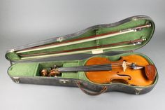 "Lot 248, An old violin with 2 piece  back 14"",  by C B Colin, bears label Lutherie Artistique Jean Baptiste Colin, annee 1896, contained in a shaped case by W.E. Hill & Sons together with 2 bows, Est £300-500"
