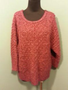 Ann Taylor LOFT Mottled Burgundy Acrylic Blend Honeycomb Knit Sweater L $24 Free Shipping!