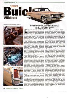 1963 BUICK WILDCAT  -  NICE CLASSIC CAR PROFILE ARTICLE / AD