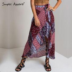 Simplee Apparel 2016 new bow striped asymmetrical women skirts Casual beach maxi retro print skirt Loose girl high waist skirts