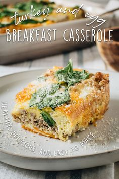 Turkey and Egg Breakfast Casserole made with egg, turkey, spinach, and sweet potato is simple, tasty, and healthy. #HealthyBreakfastCasserole #TurkeyAndEggBreakfastCasserole #TurkeyBreakfastCasserole Healthy Breakfast Casserole, Breakfast Enchiladas, Healthy Breakfast Recipes, Brunch Recipes, Eating Healthy, Brunch Ideas, Drink Recipes, Healthy Meals, Paleo Recipes