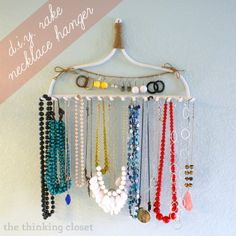 Rakes aren't just for leaves anymore.they're for necklace organization. This DIY tutorial explains how to easily make your own rake necklace hanger. Ribbon Organization, Jewelry Organization, Closet Organization, Organization Ideas, Diy Jewelry Holder, Jewelry Hanger, Jewelry Box, Hang Jewelry, Jewelry Stand
